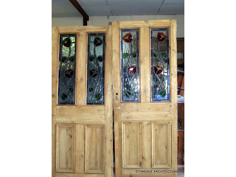 pair of period interior stained glass doors