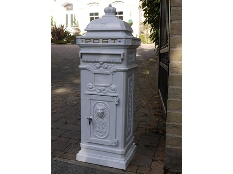Victorian style white post box