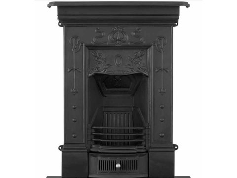 Bella small cast iron fireplace black finish