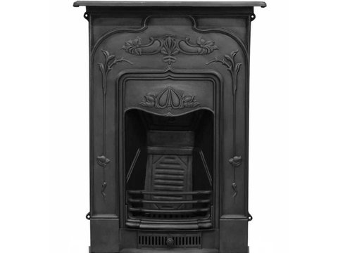 Jasmine cast iron fireplace in black finish