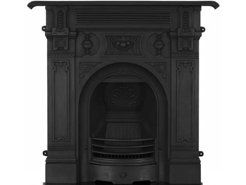 Victorian cast iron fireplace large black finish