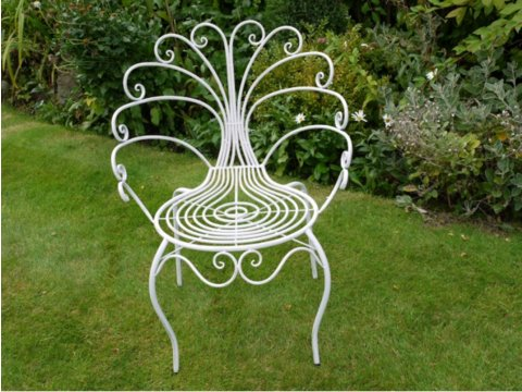 Peacock chair in white