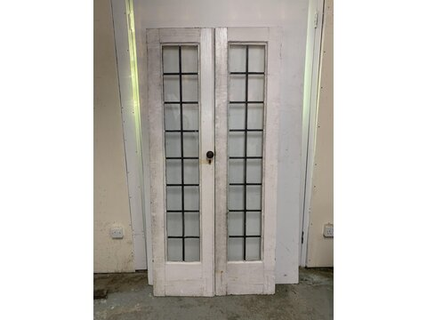 Pair of leaded light victorian/Edwardian French doors  Pd2